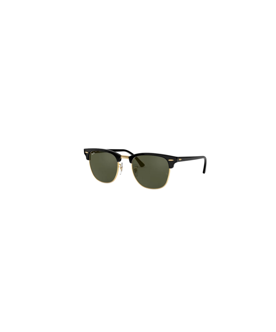 Image for Rayban Clubmaster sunglasses in black on arista frame with green lens