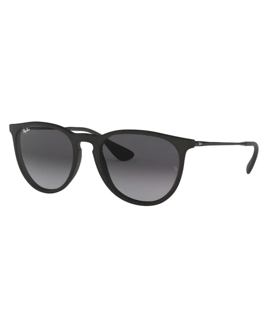 Image for Rayban Erika sunglasses with rubber black frame with light grey lens