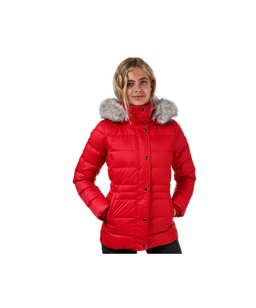 Image for Women's Tommy Hilfiger Essential Monogram Down Filled Jacket Red 4in Red