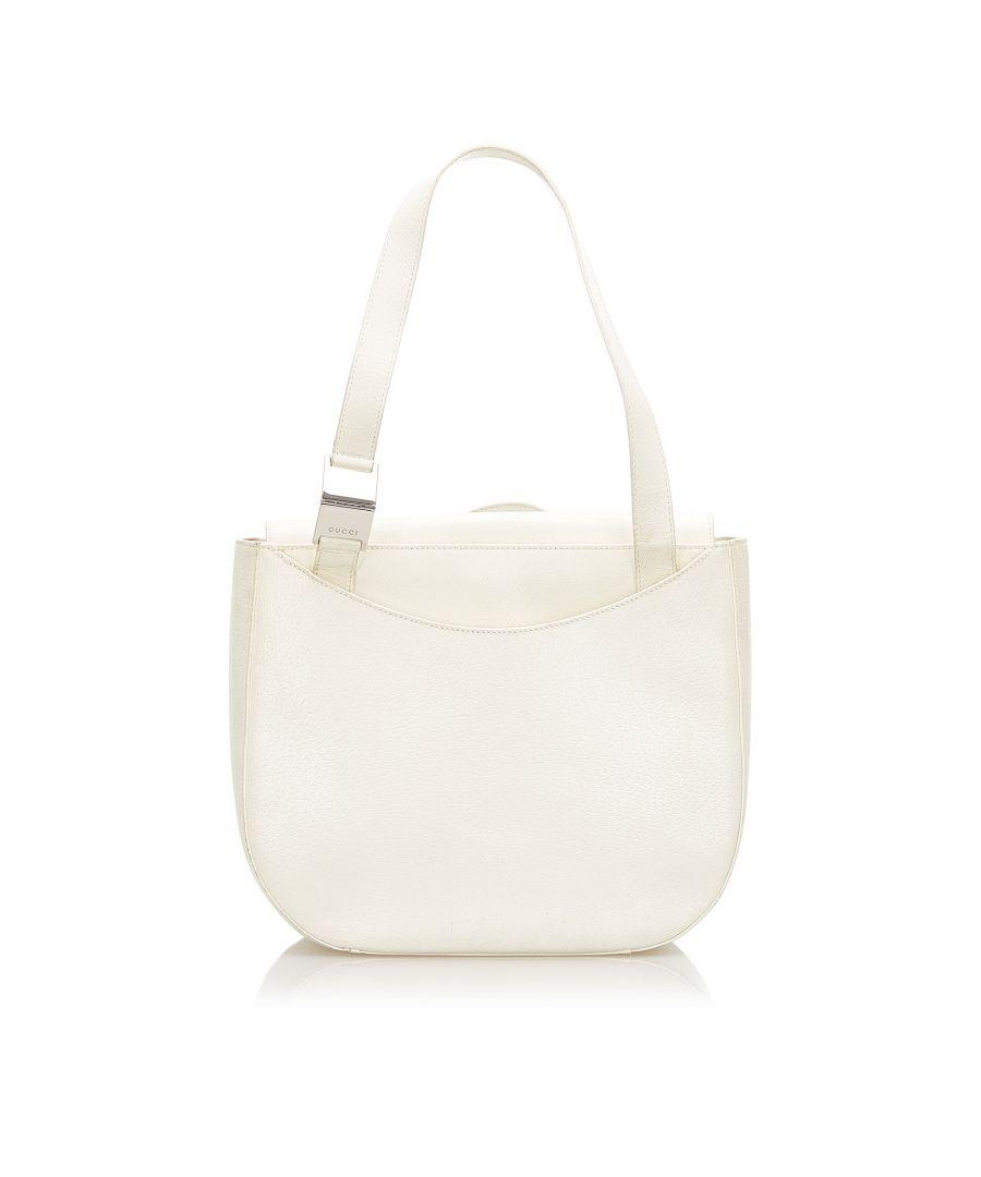 Image for Vintage Gucci Leather Shoulder Bag White