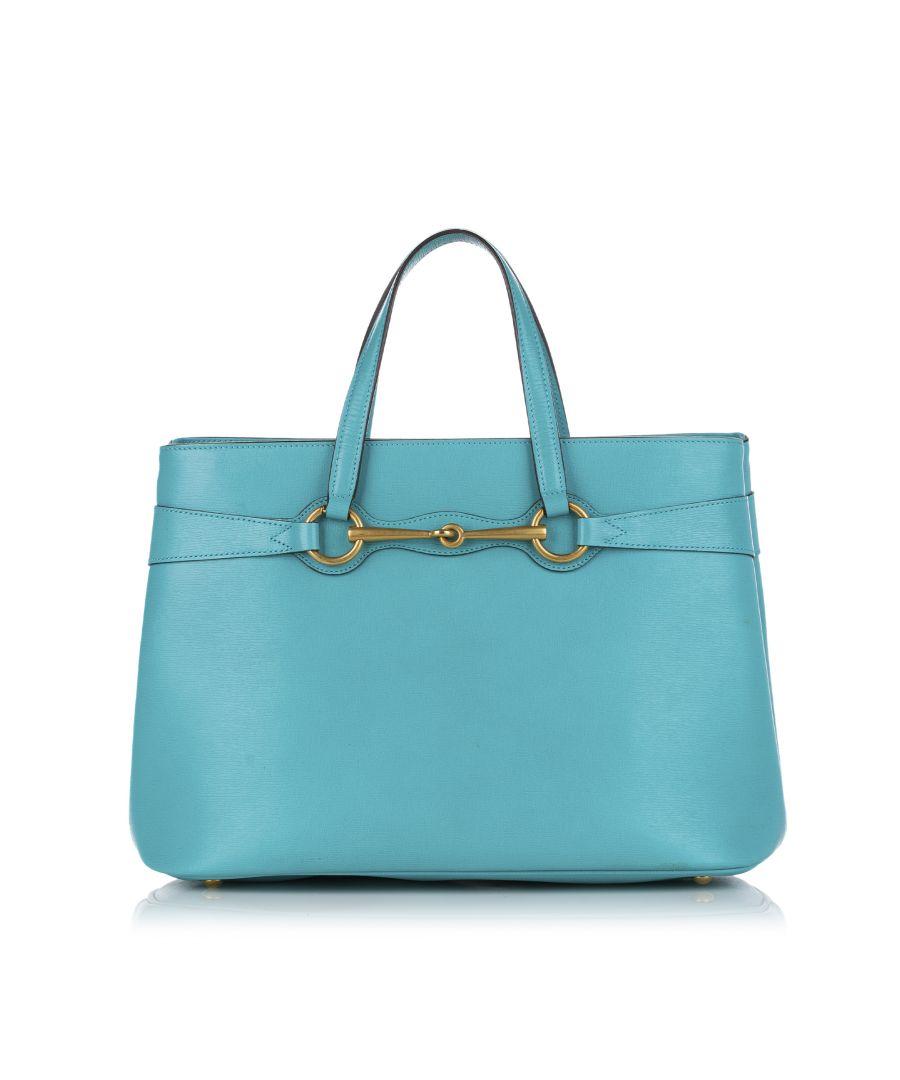 Image for Vintage Gucci Bright Bit Leather Satchel Blue