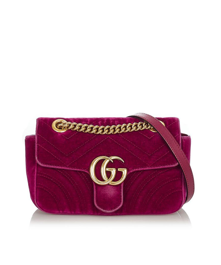 Image for Vintage Gucci GG Marmont Matelasse Velvet Crossbody Bag Purple