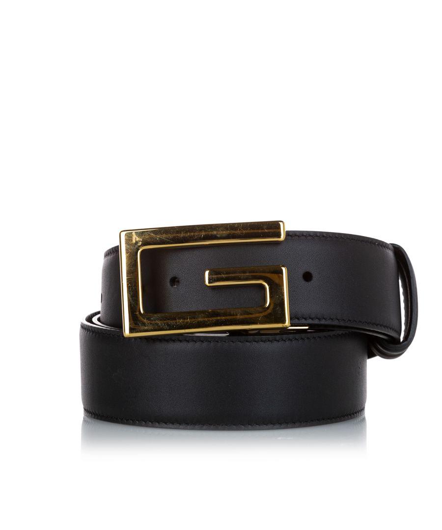 Image for Vintage Gucci Square G Leather Belt Black