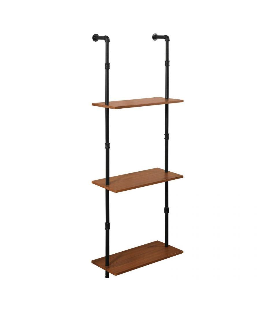 Image for Furinno Wyatt Induatrial Style 3-Tier Wall-Mounted Storage Shelf, Antique Espresso