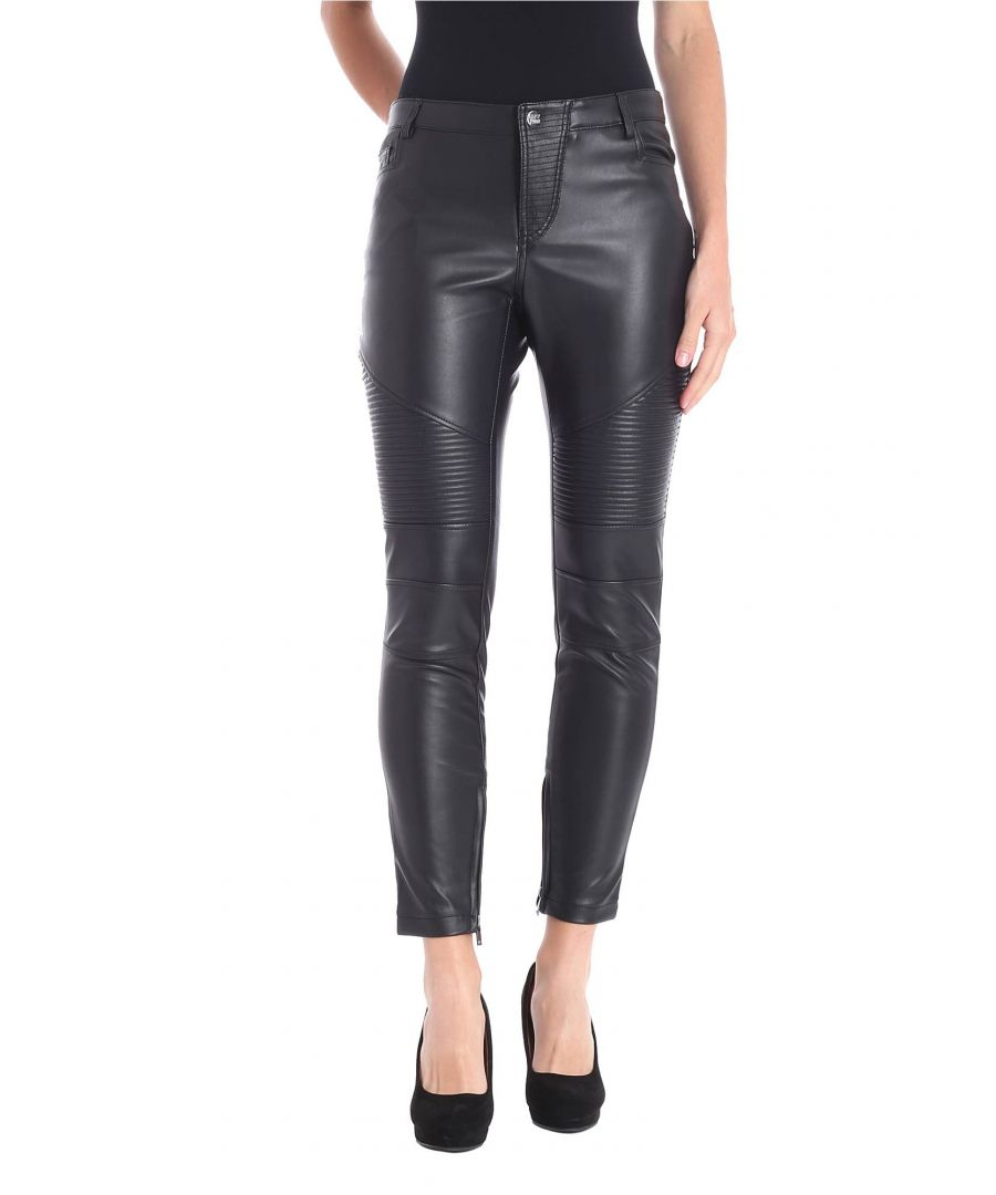Image for MY TWIN WOMEN'S JA82DE00006 BLACK POLYURETHANE LEGGINGS