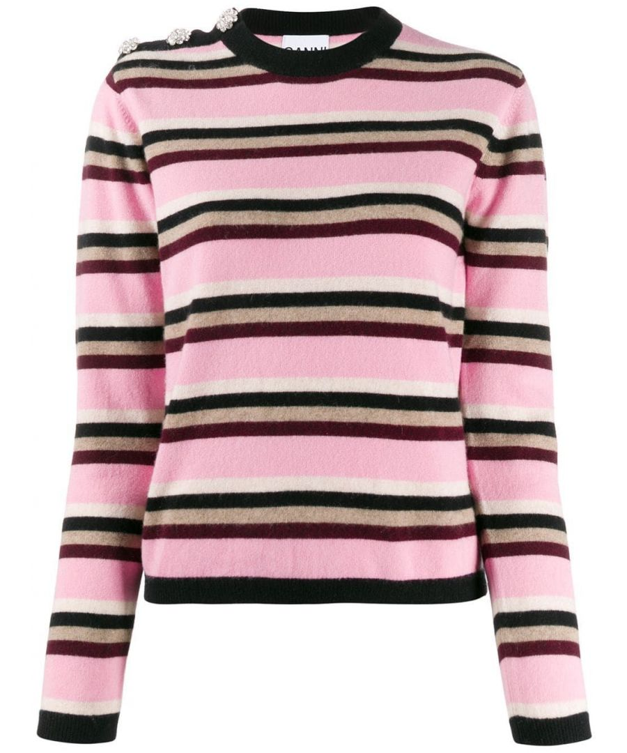 Image for GANNI WOMEN'S K1335999 PINK CASHMERE SWEATER
