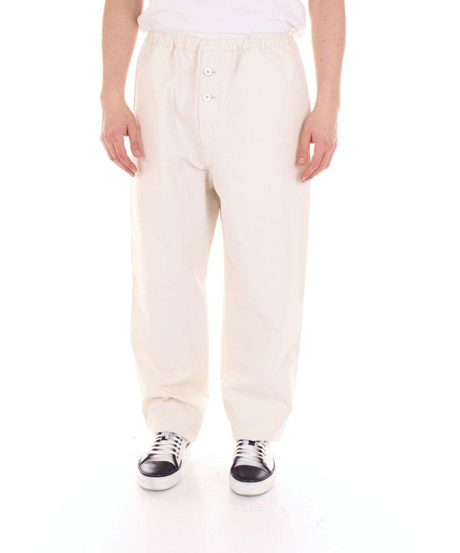 Image for JIL SANDER MEN'S JSUN310731MN252500PANNA WHITE COTTON PANTS