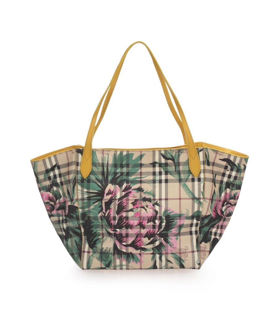 Image for Vintage Burberry House Check Floral Travel Bag Brown