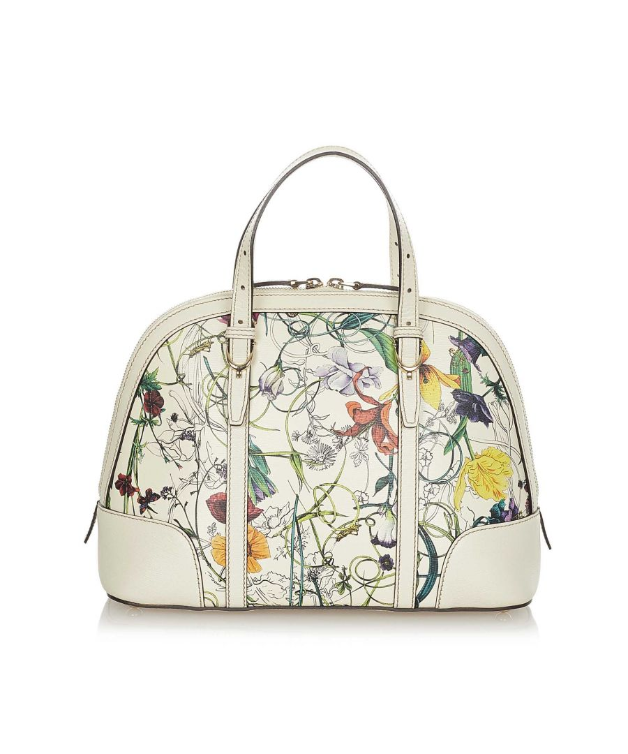 Image for Vintage Gucci Flora Nice Coated Canvas Satchel White