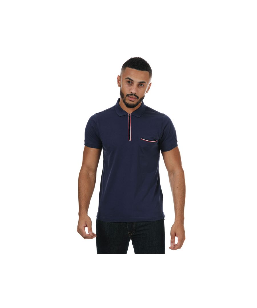 Image for Men's Tommy Hilfiger Tipped Zip Polo Shirt in Navy