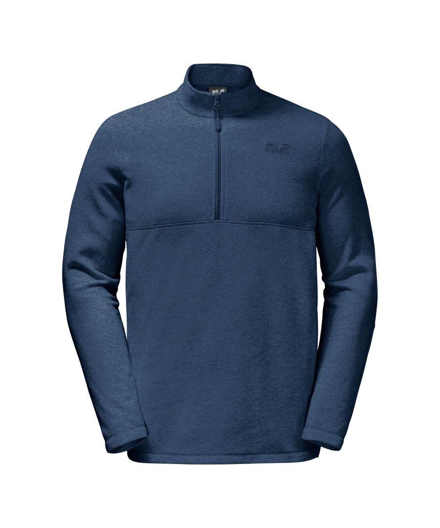 Image for Jack Wolfskin Gecko 1/4 Zip Mens Fleece Sweatshirt Navy Blue - M