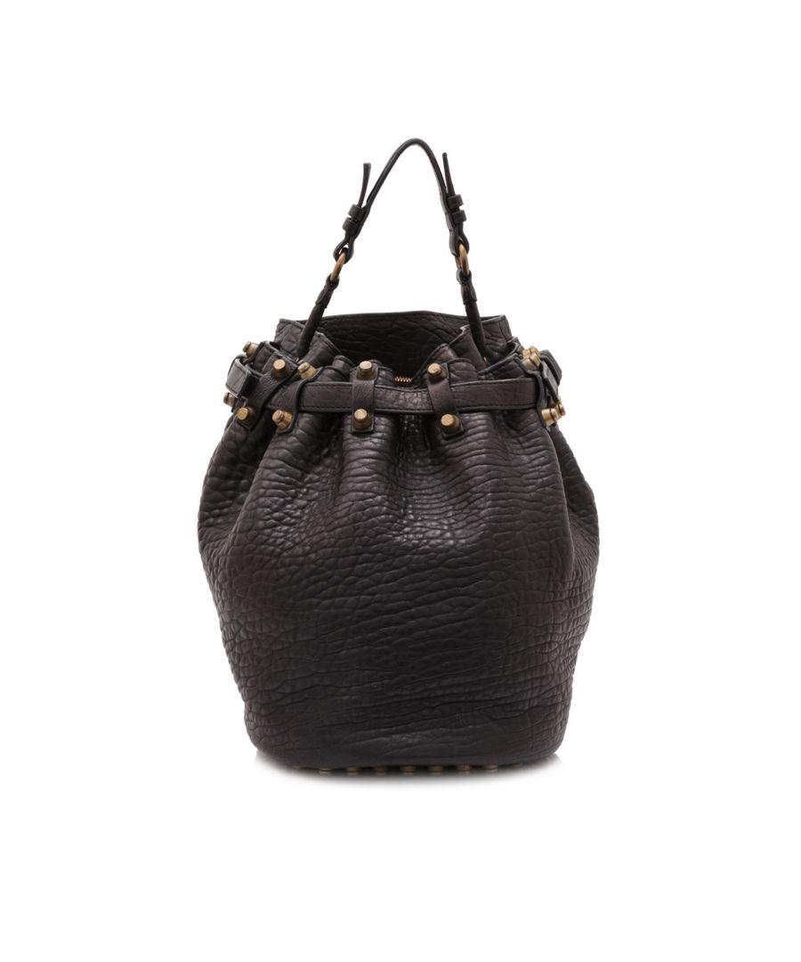 Image for Vintage Alexander Wang Leather Diego Bucket Bag Black