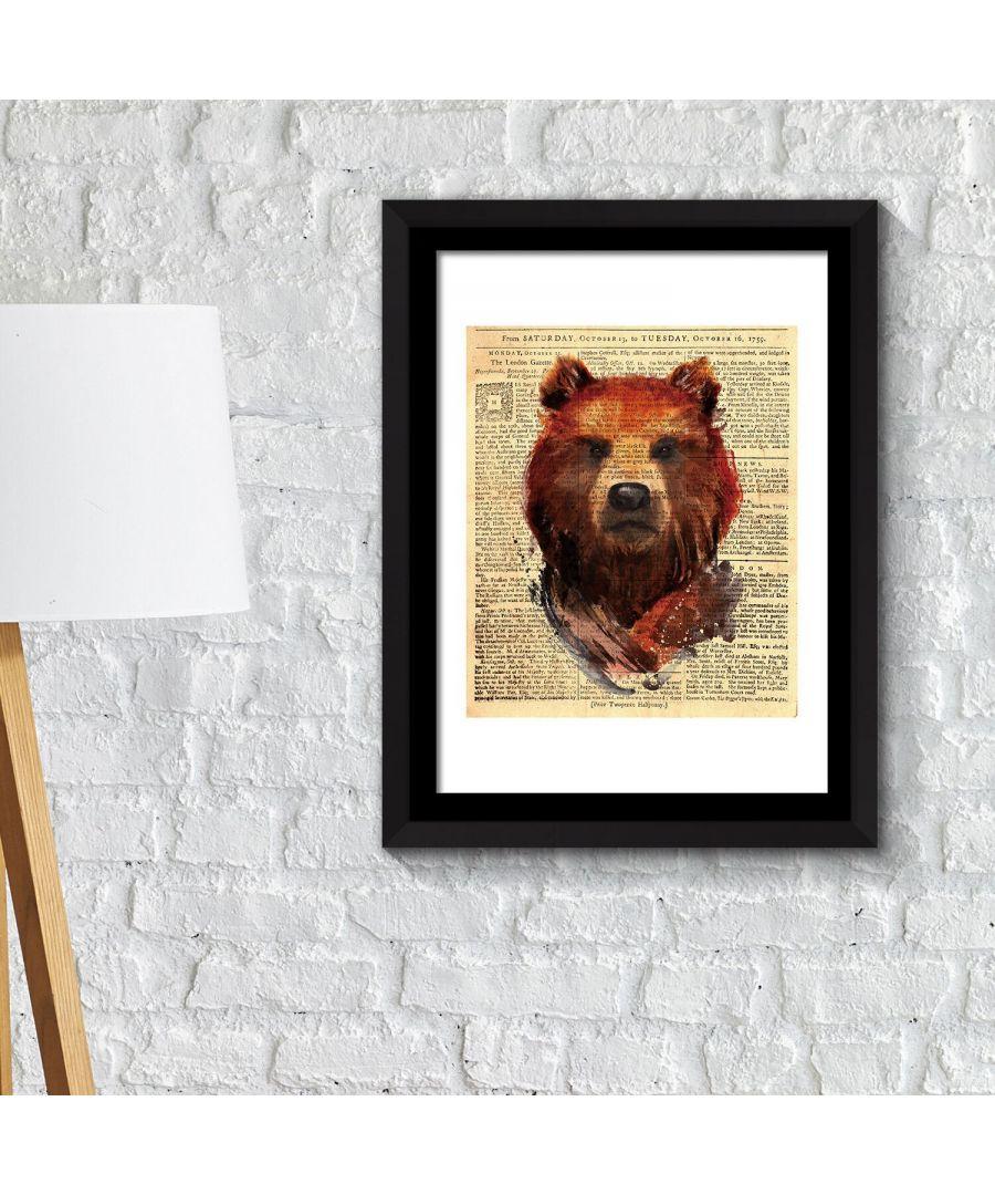 Image for Framed Art 2in1 Bear Newspaper Animal Poster Framed Photo, Framed Art