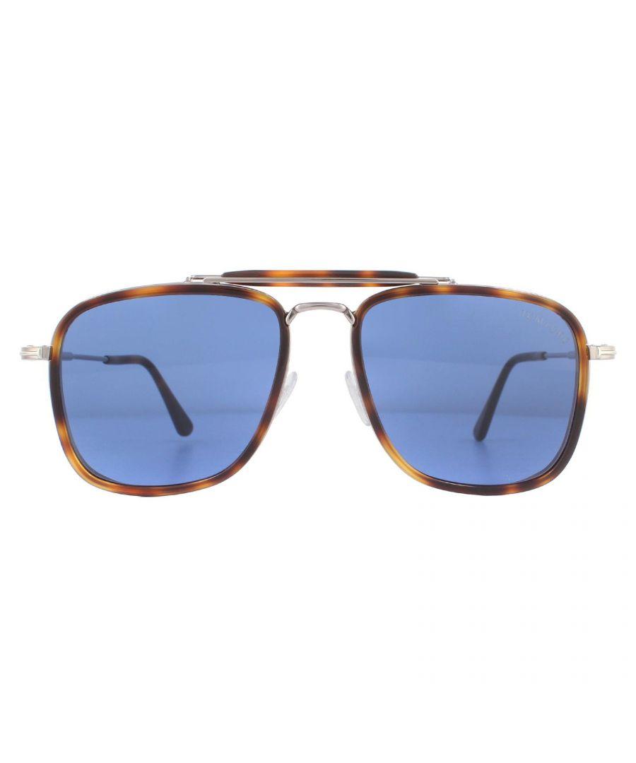Image for Tom Ford Sunglasses Huck FT0665 53V Blonde Havana Blue