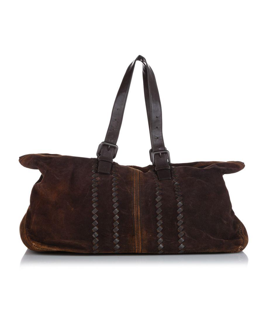 Image for Vintage Bottega Veneta Intrecciato Suede Travel Bag Brown