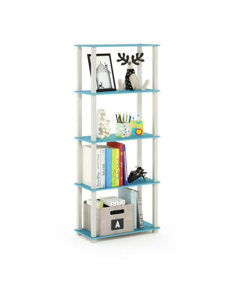 Image for Furinno Turn-S-Tube 5-Tier Multipurpose Shelf Display Rack with Square Tubes, Light Blue/White