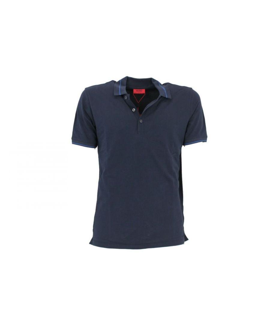 Image for HUGO BOSS MEN'S 5383002140 BLUE COTTON POLO SHIRT