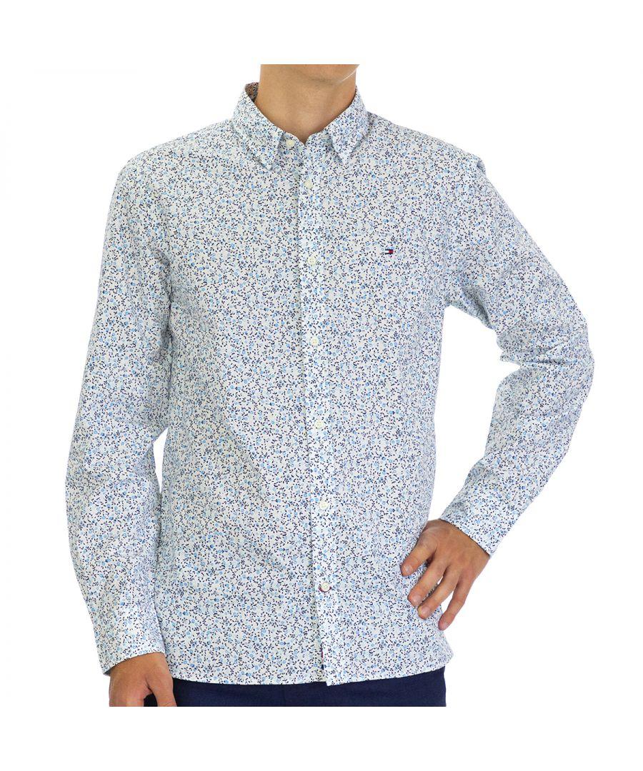 Image for Tommy Hilfiger Men's Shirt Floral Regular Fit Full Sleeve Multicolor