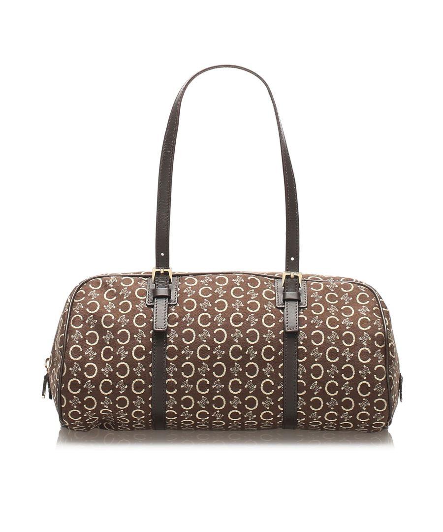 Image for Vintage Celine C Macadam Canvas Handbag Brown