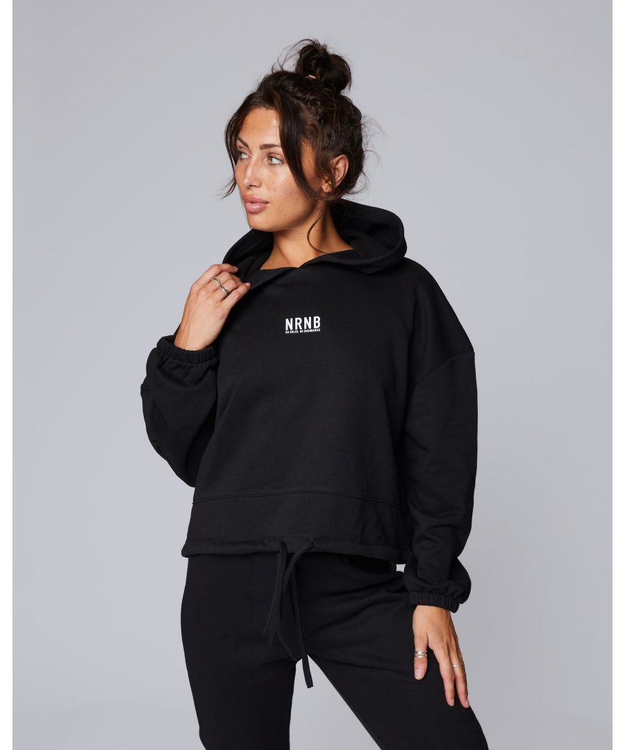 Image for Mini Stack Cropped Oversize Hoodie in Black