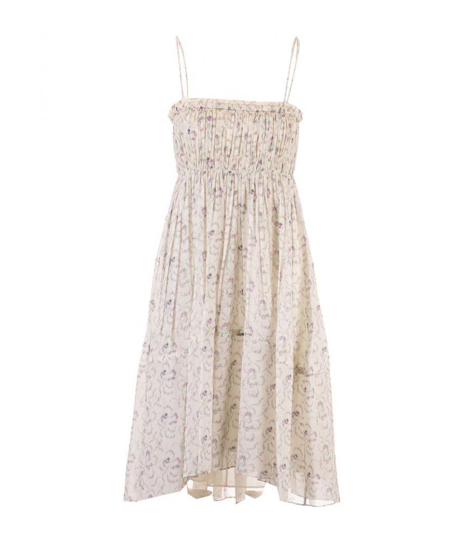 Image for CHLOÉ WOMEN'S CHC20URO7033791O BEIGE SILK DRESS