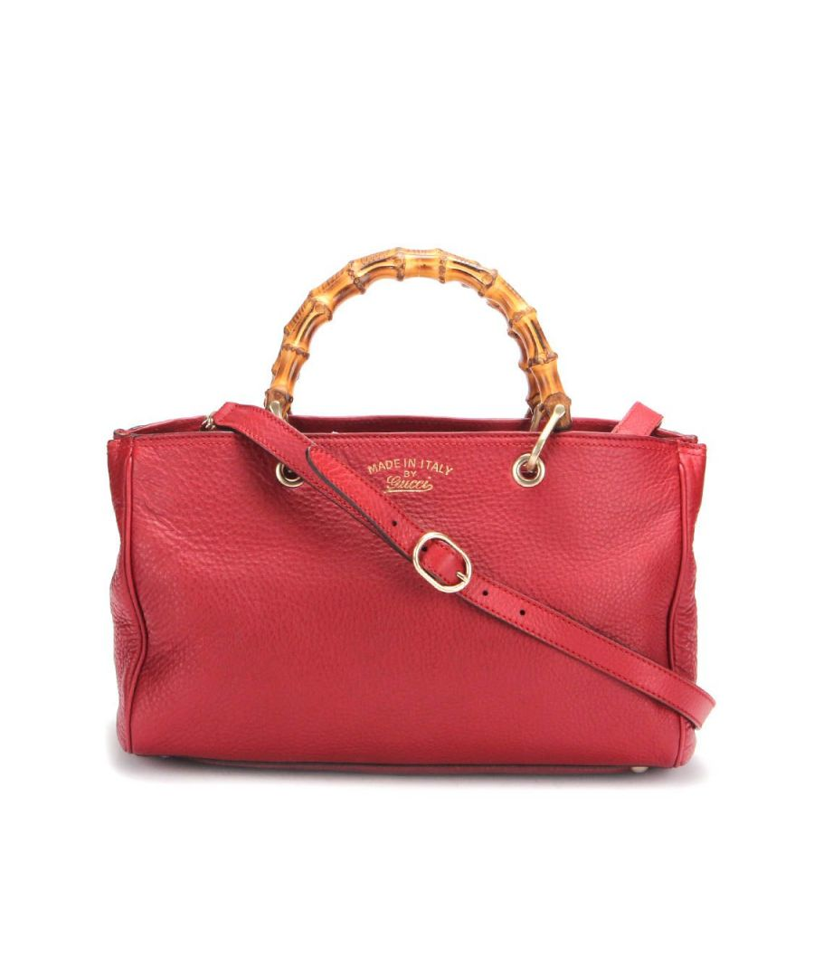 Image for Gucci Bamboo Shopper Tote Bag in Red Calfskin Leather - Pre Owned Condition Excellent