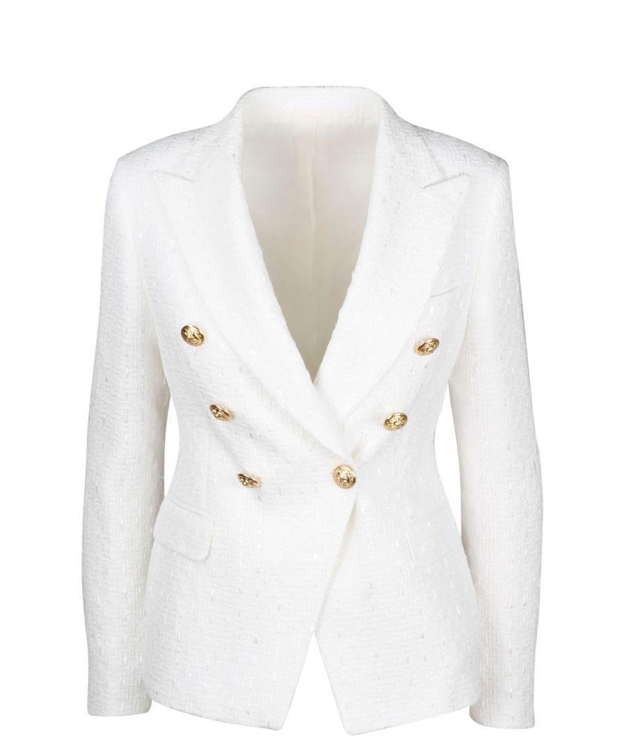 Image for TAGLIATORE WOMEN'S JALICYA10B16043X1277 WHITE COTTON BLAZER
