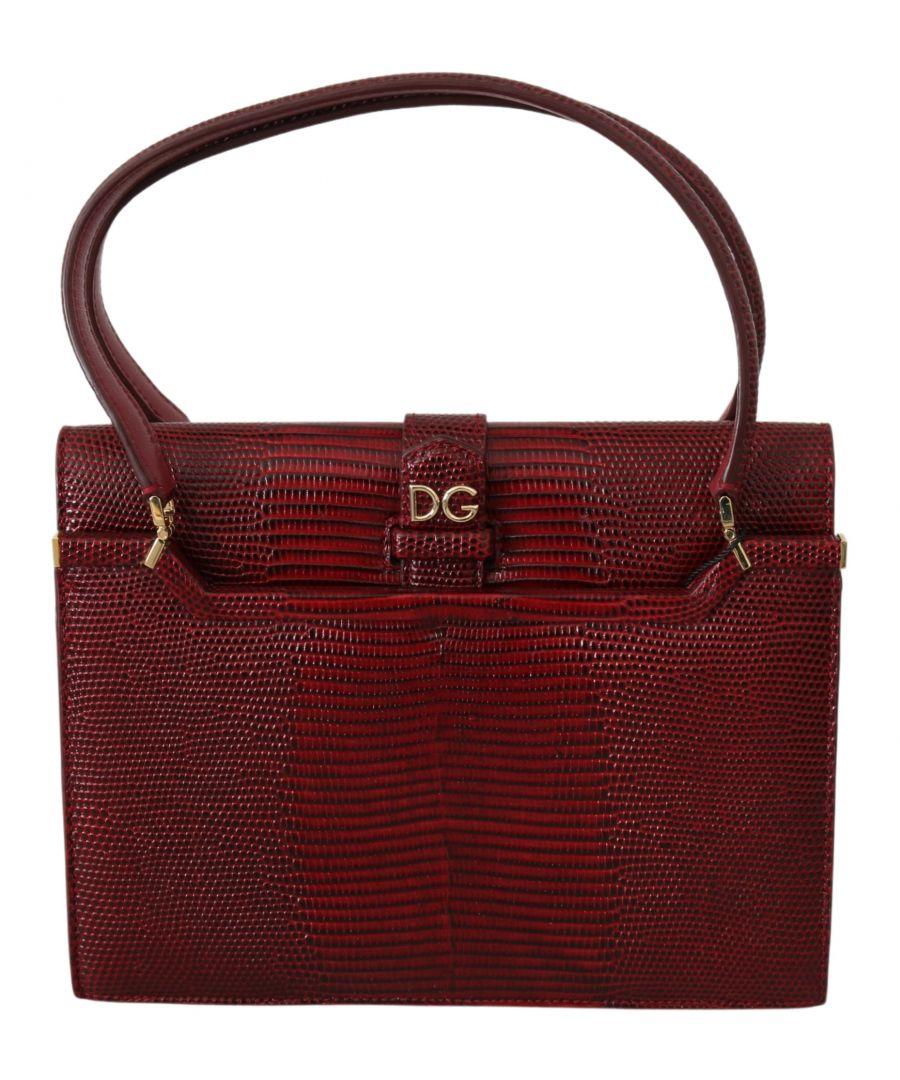 Image for Dolce & Gabbana Bordeaux DG Logo INGRID Hand Purse Borse Leather Bag