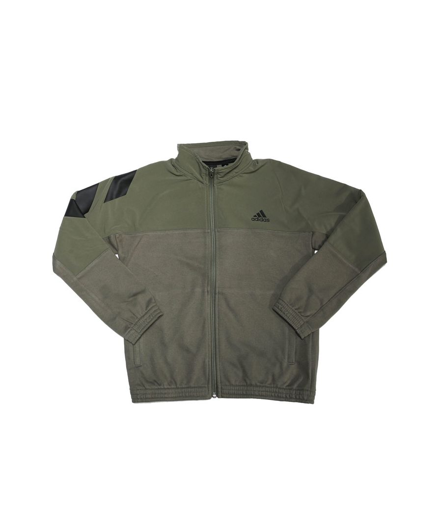 Image for Boy's adidas Junior XFG Cover-Up Track Jacket in Green black