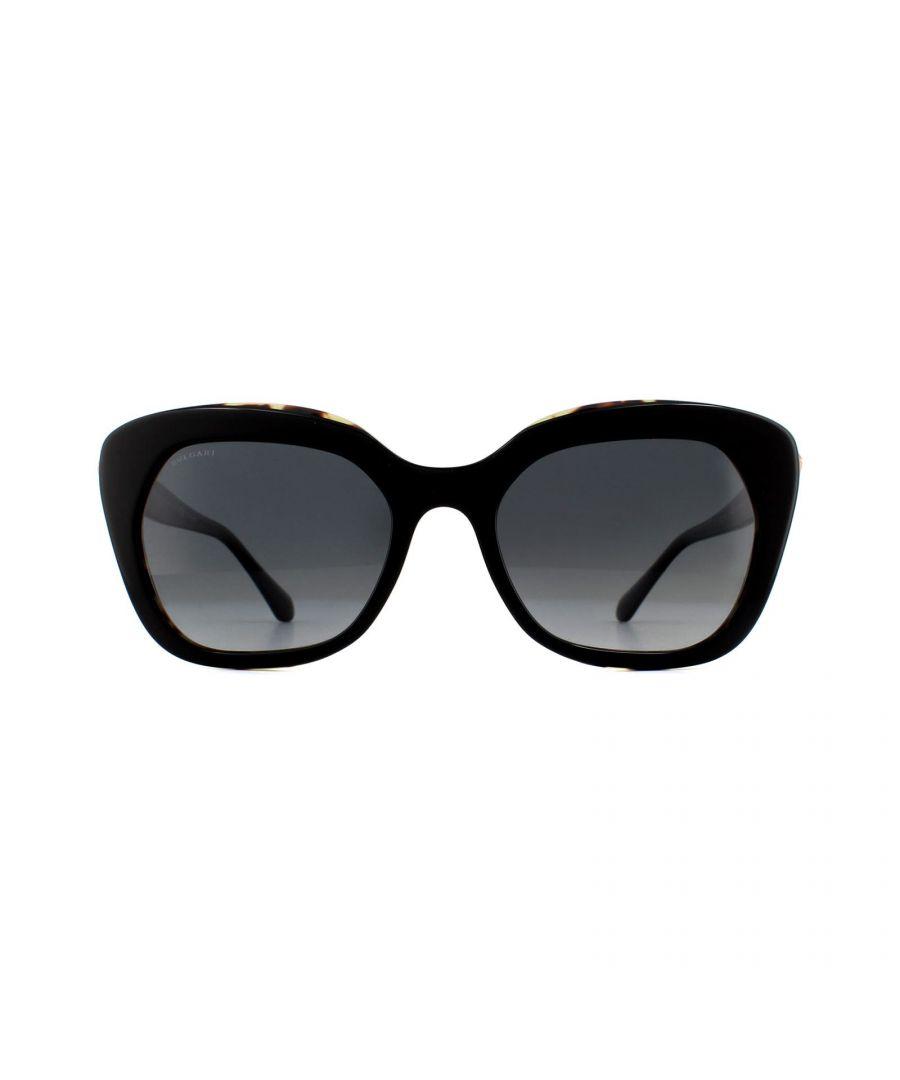 Image for Bvlgari Sunglasses BV8213B 5443T3 Top Black on Blonde Havana Grey Gradient Polarized