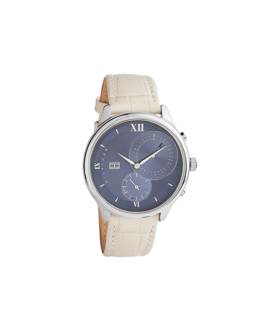 Image for Tommy Hilfiger Womens 1782130 Cream And Blue Leather Strap Watch