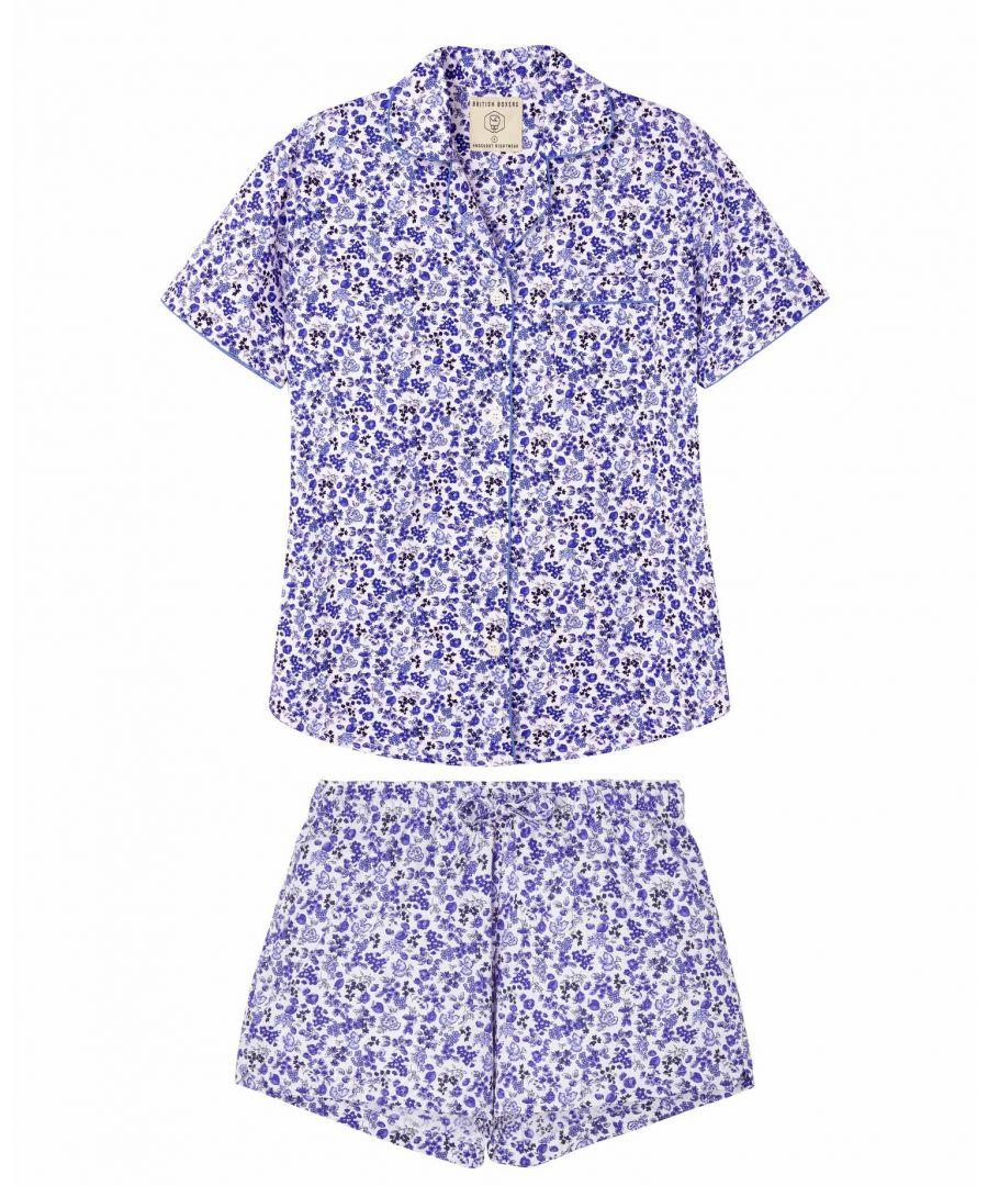 Image for British Boxers Women's Blue Rosy Posy Short Pyjama Set