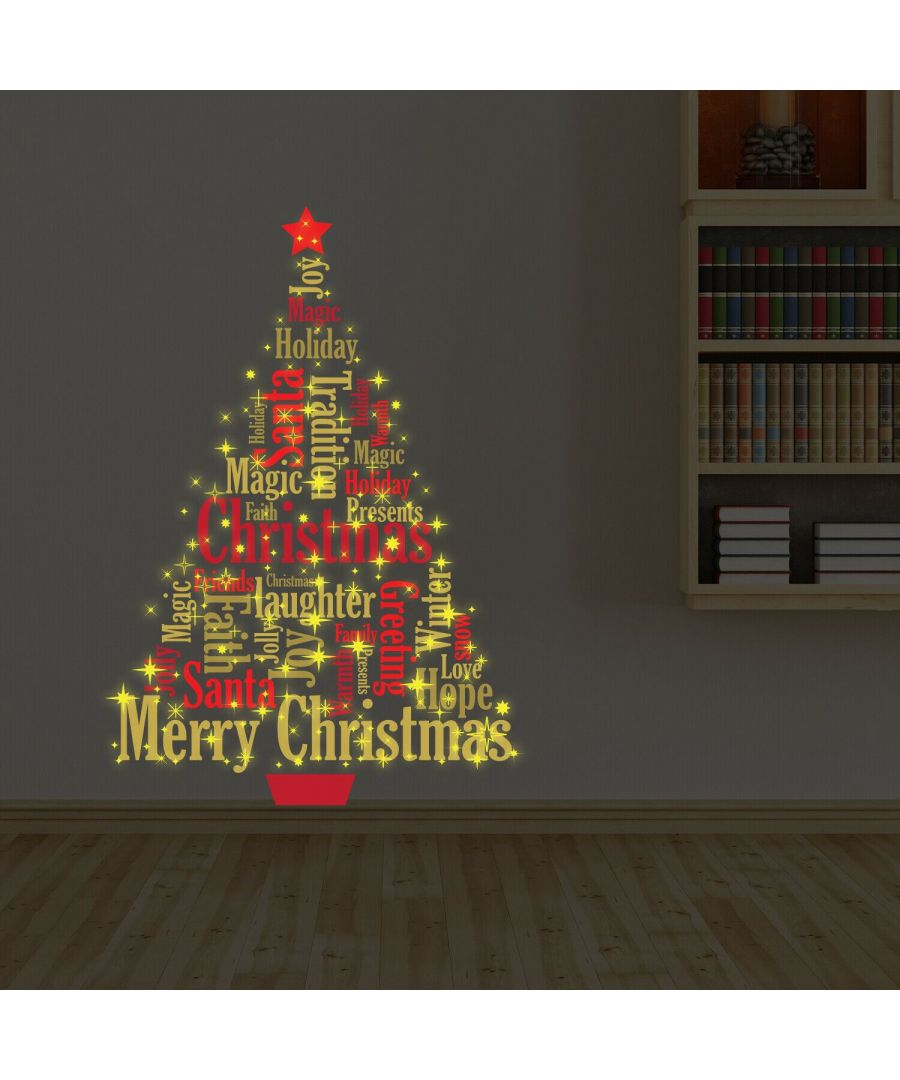 Image for Magic Glow in Dark Christmas Tree English Quotes Christmas Wall Stickers, Kitchen, Bathroom, Living room, Self-adhesive, Decal