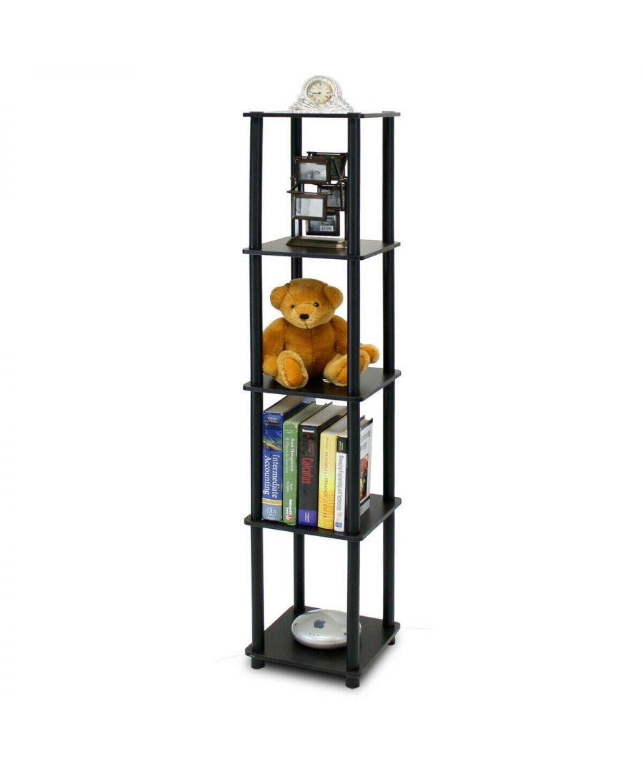 Image for Furinno Turn-N-Tube 5-Tier Corner Square Rack Display Shelf - Espresso/Black