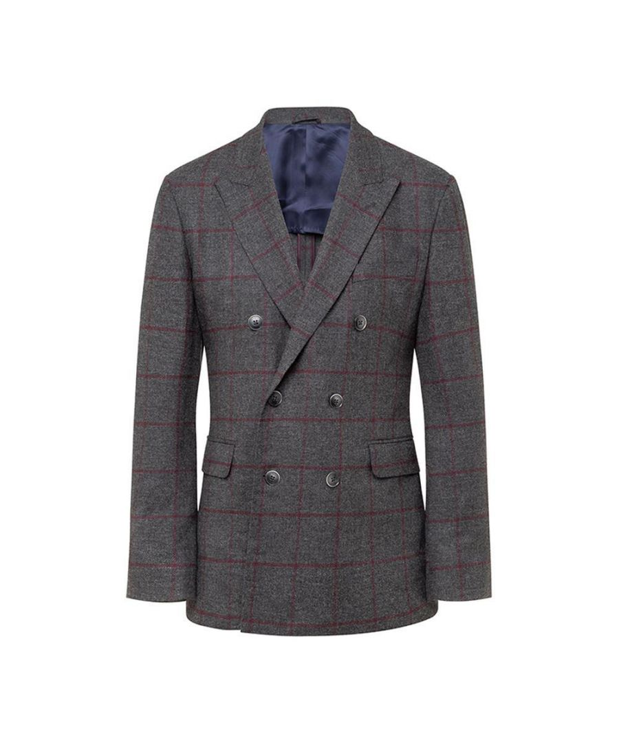 Image for Men's Hackett, Herringbone Tattershall Check Jacket in Grey Multicolour