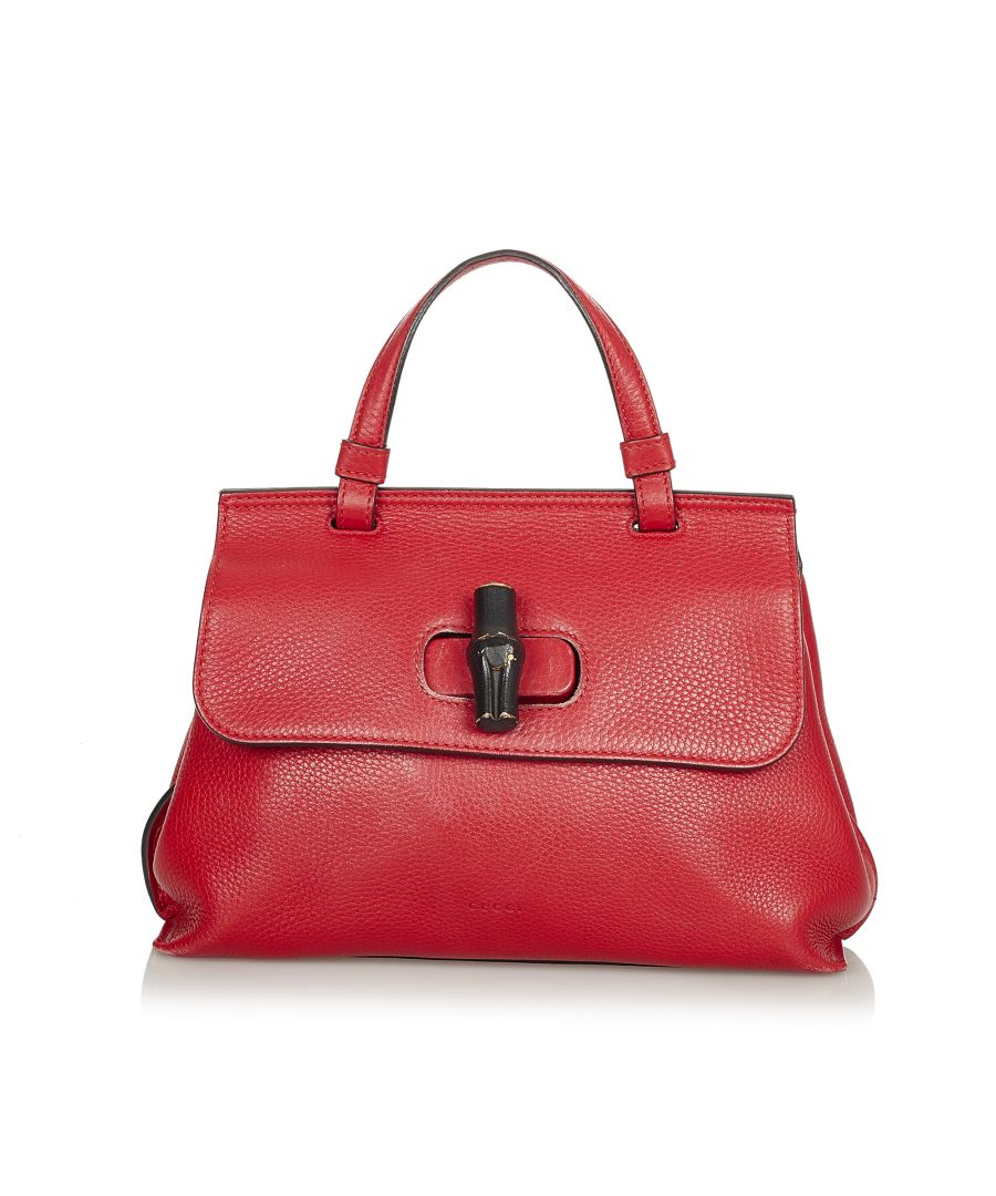 Image for Vintage Gucci Bamboo Daily Leather Satchel Red