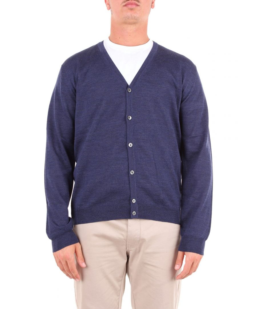 Image for HERITAGE MEN'S 0105H2ZBLUE BLUE WOOL CARDIGAN