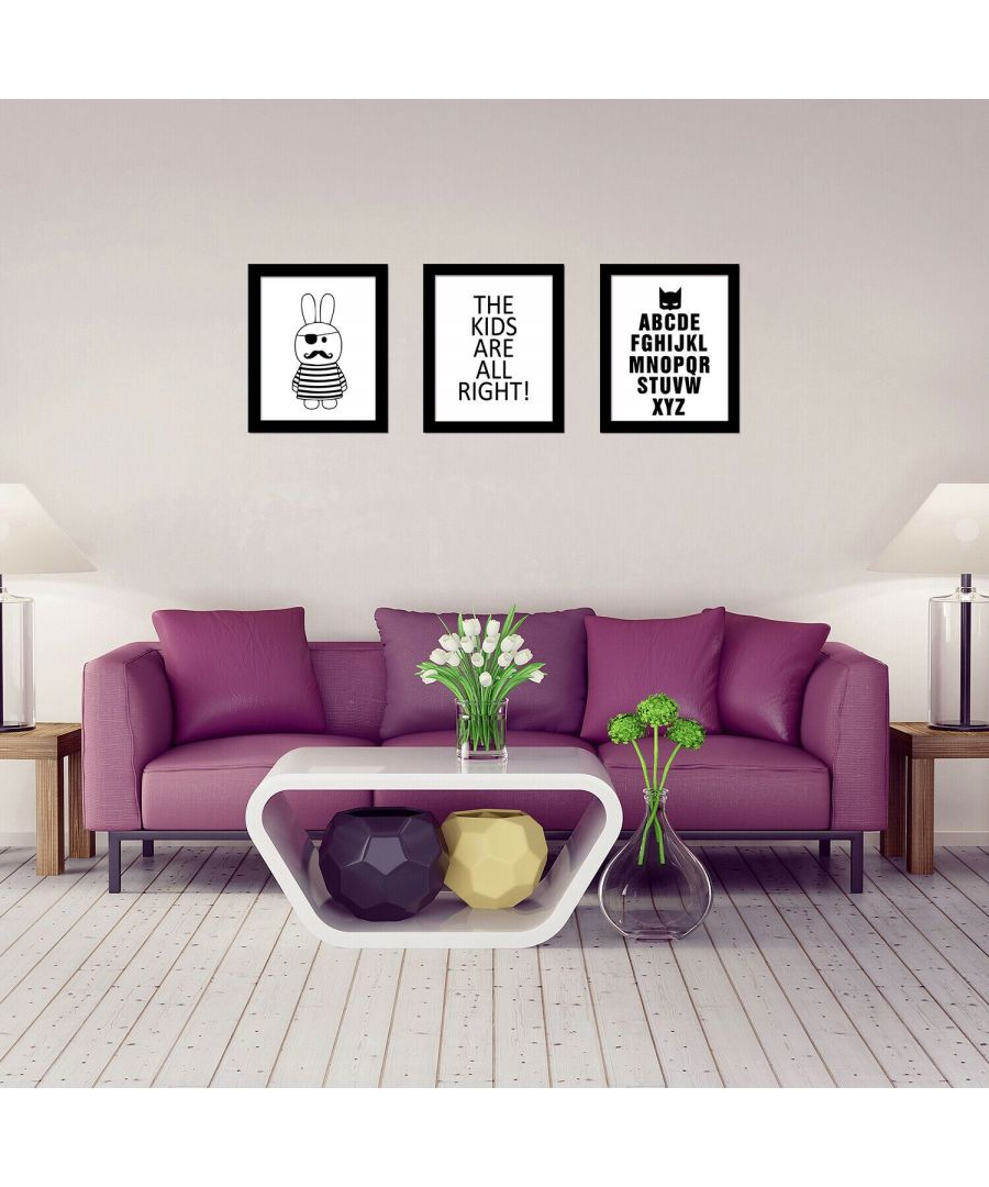 Image for Rabbit Art Canvas Printing + Letter Art Canvas Printing + 28 English Letters Art Canvas Printing Framed Photo, Framed Art