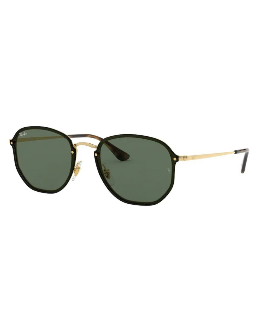 Image for Rayban Blaze hexagonal Sunglasses in black with green lens