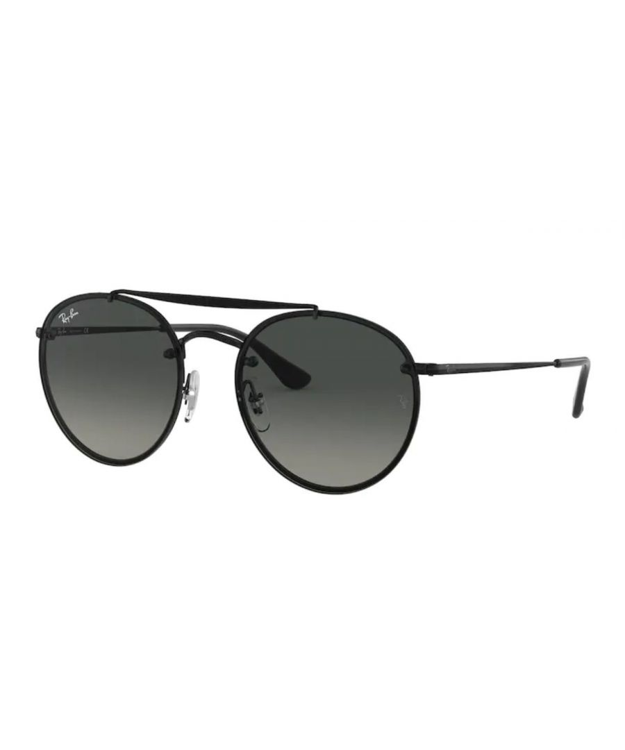 Image for Rayban Blaze round doublebridge Sunglasses in black with grey lens