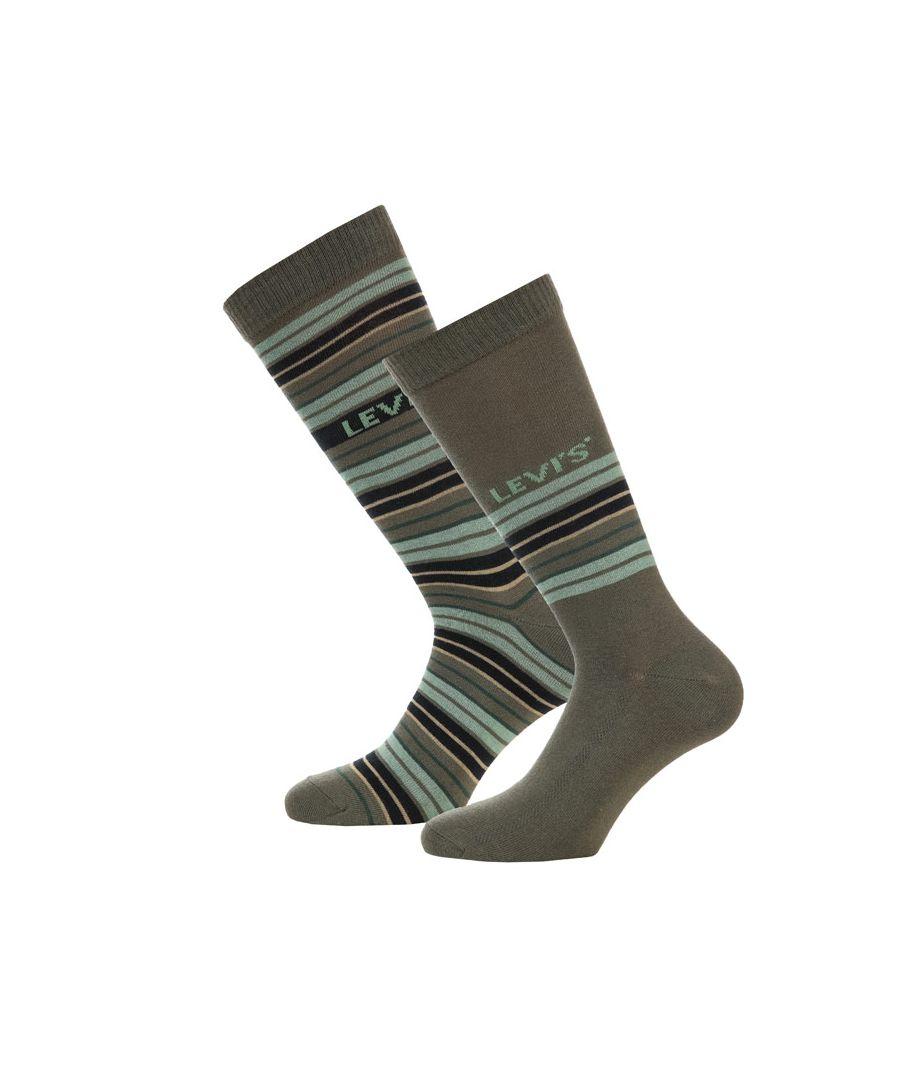 Image for Men's Levis Striped 2 Pack Socks in Green
