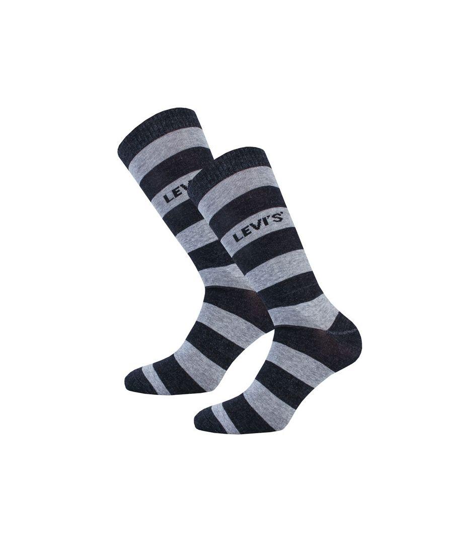 Image for Men's Levis Rugby Stripe 2 Pack Socks in Black