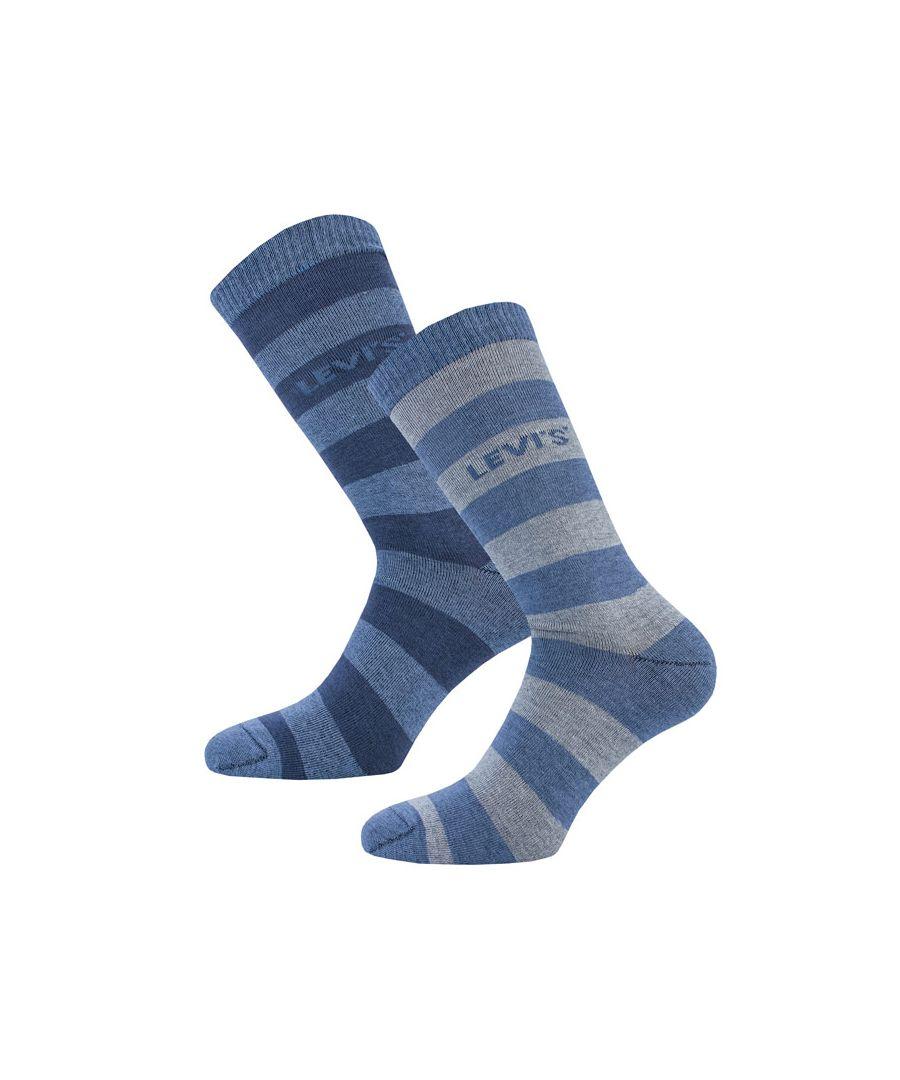 Image for Men's Levis Rugby Stripe 2 Pack Socks in Blue
