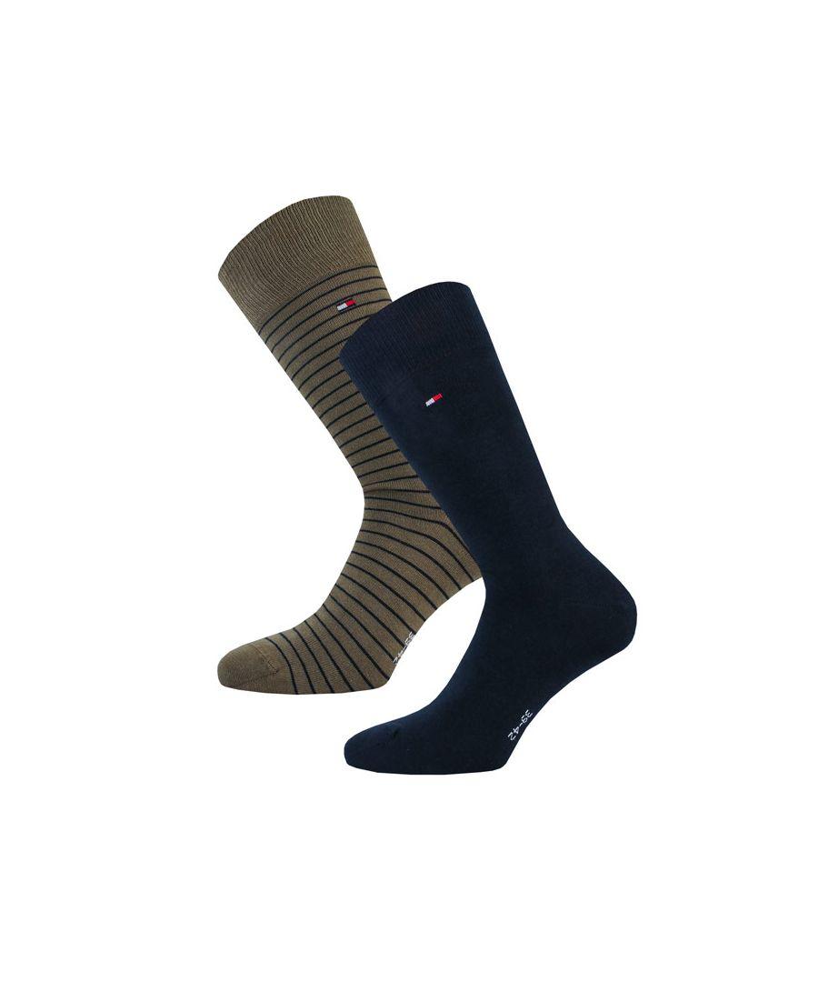 Image for Men's Tommy Hilfiger Small Stripe 2 Pack Socks in olive