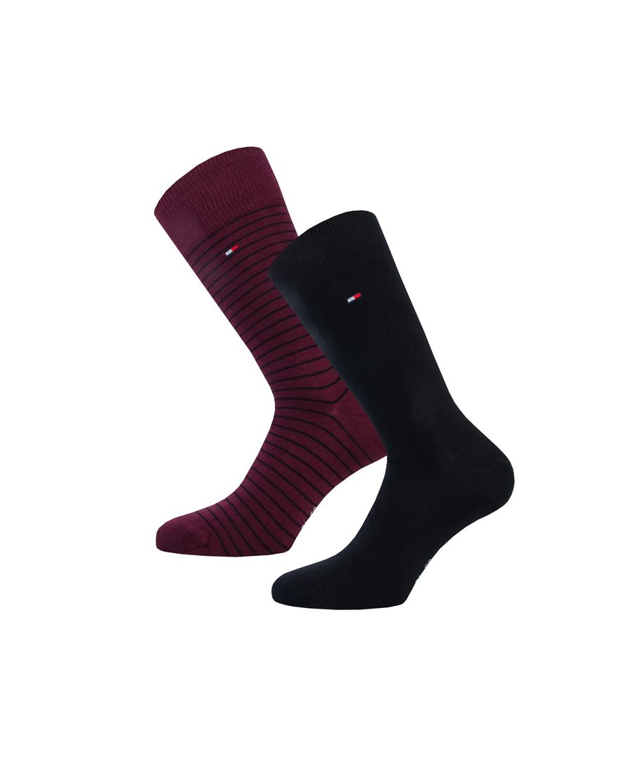 Image for Men's Tommy Hilfiger Small Stripe 2 Pack Socks in Black