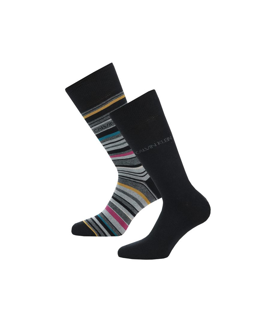 Image for Men's Calvin Klein Barcode Stripe 2 Pack Socks in Black