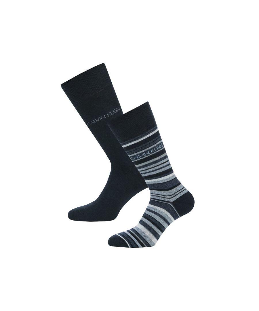 Image for Men's Calvin Klein Barcode Stripe 2 Pack Socks in Navy