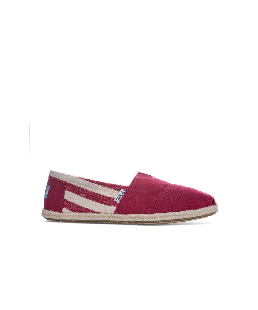 Image for Women's Toms Classics Stripe University Espadrille Pumps in Red