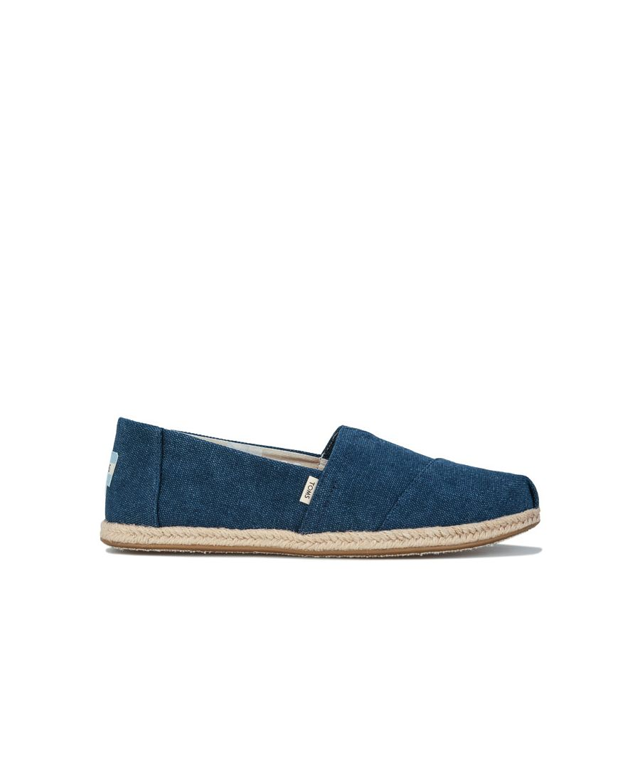 Image for Women's Toms Washed Canvas Espadrille Pumps Navy UK 3in Navy