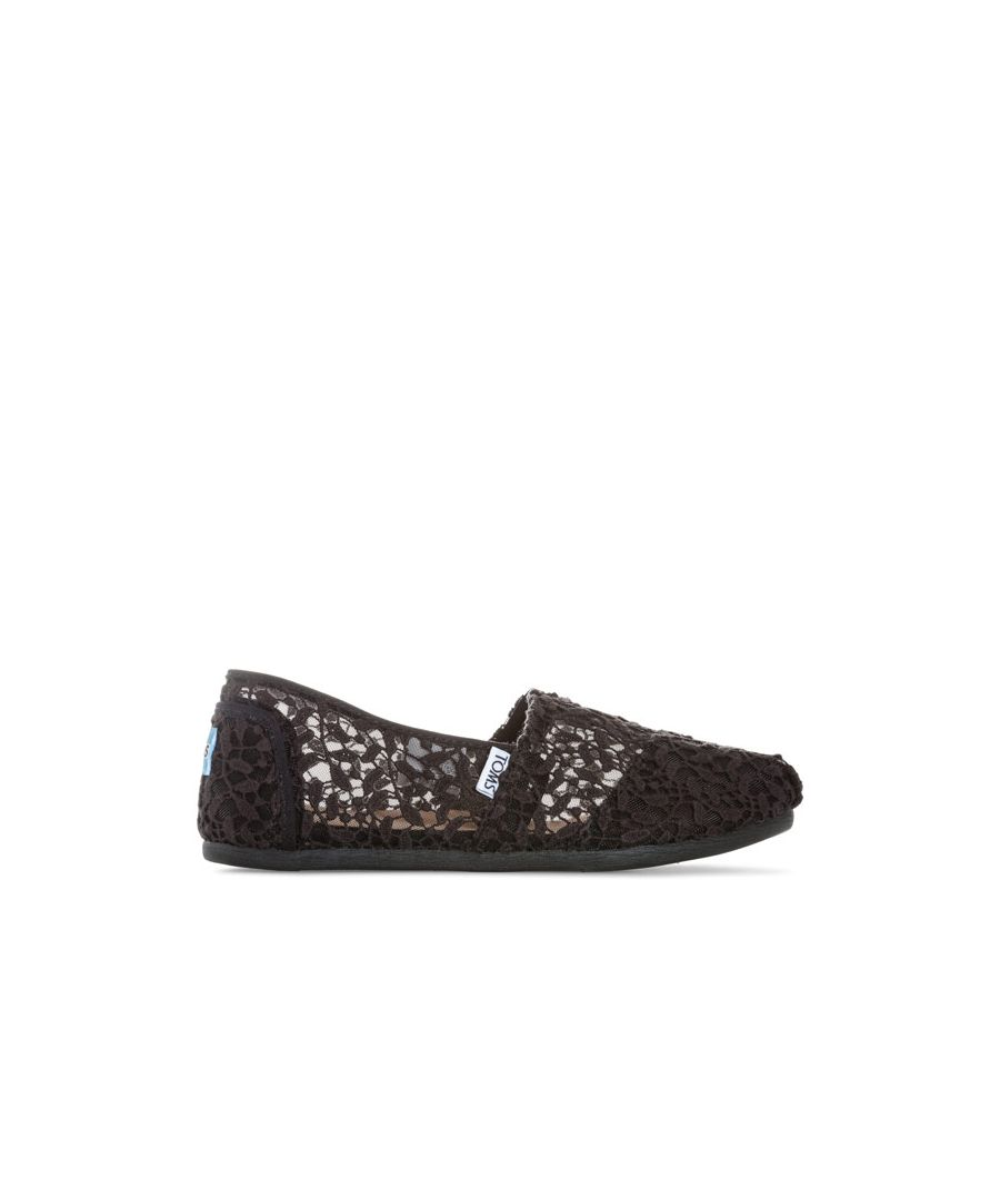 Image for Women's Toms Classics Lace Leaves Espadrille Pumps in Black